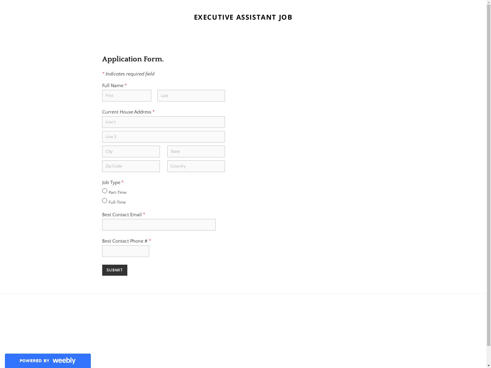 Screenshot of form present on phishing site